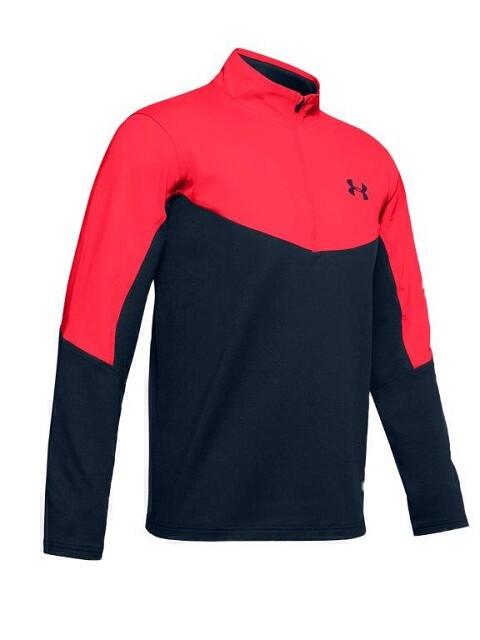 Under Armour heren golfsweater korte rits navy-oranje