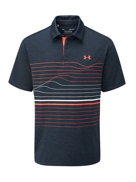 Under Armour heren golfpolo Playoff 2.0 Hero Graphic navy-strepen