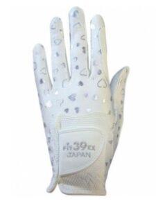 Fit39 dames golfhandschoen zilver-wit hartjespatroon