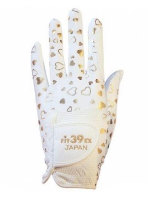 Fit39ex unisex golfhandschoen goud-wit hartjespatroon