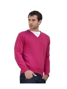 William Lockie heren golfpullover Merino wol V-hals donkerroze