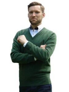 William Lockie heren golfpullover Merino wol V-hals serpetine green
