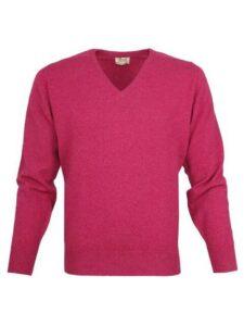William Lockie heren golfpullover lamswol V-hals roze