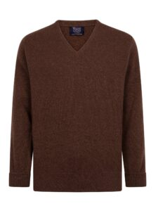 William Lockie heren golfpullover lamswol V-hals mocha bruin