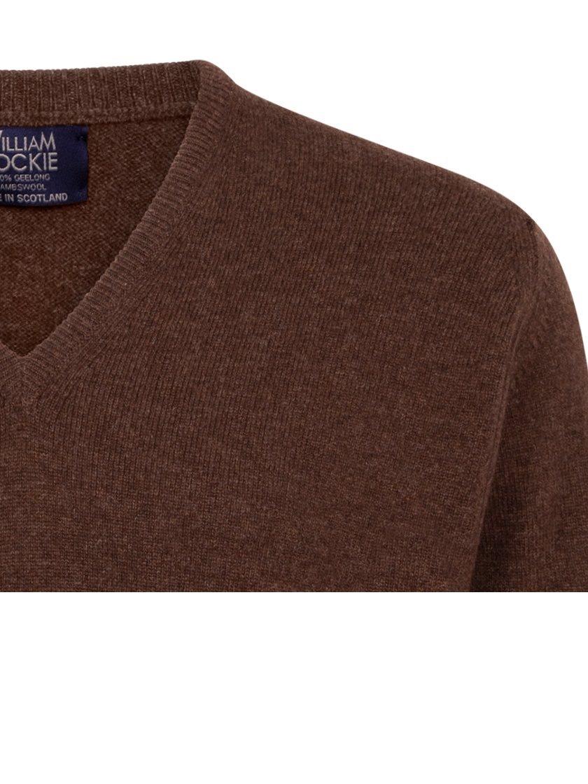 William Lockie heren golfpullover lamswol V-hals mocha bruin