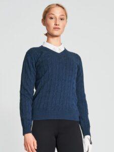 Röhnisch dames golfpullover Cable donkerblauw