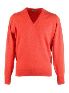 William Lockie heren golfpullover lamswol V-hals oranje