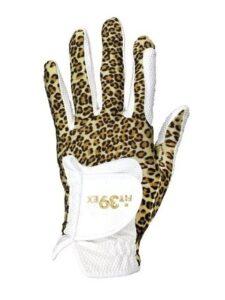 Fit39ex dames golfhandschoen wit-bruin luipaardpatroon