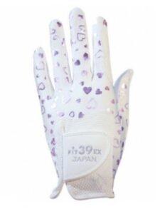 Fit39ex dames golfhandschoen wit-roze-hartjes