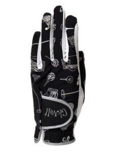 Golfers Point dames golfhandschoen zwart-motief