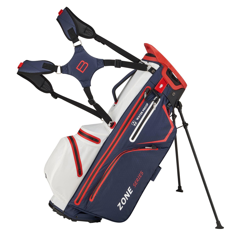 Bennington golftas Zone 14 DB Stand Bag Waterproof blauw-wit-rood