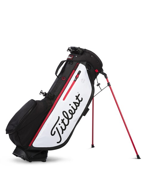 Titleist golftas Players 4+ Stand Bag zwart-wit-rood
