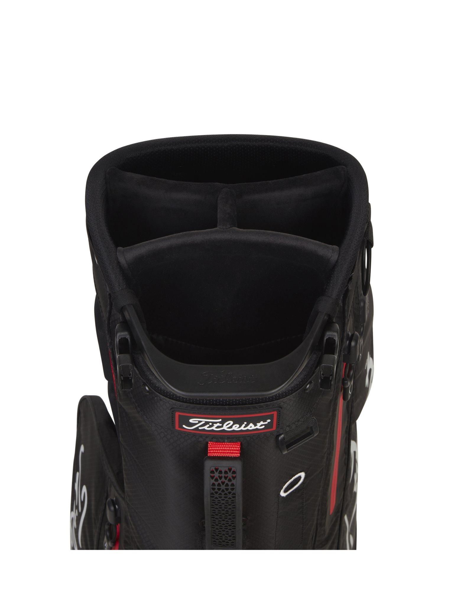 Titleist golftas Players 4+ StaDry Stand Bag zwart-rood