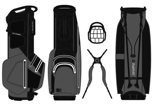 Fastfold golftas Challenger Waterproof 14W Stand Bag zwart-rood