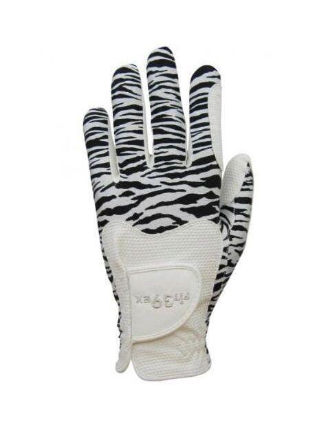 Fit39ex dames golfhandschoen wit-zwart zebrapatroon