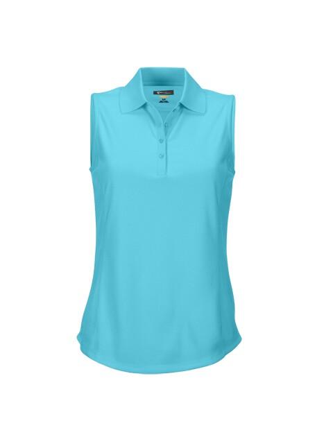 Greg Norman dames golfpolo mouwloos ProTek ocean blue