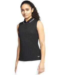 Nike dames golfpolo zonder mouw Dri-FIT Victory zwart