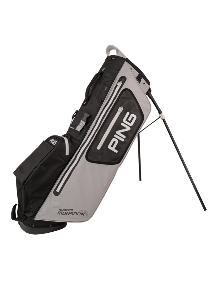 Ping golftas Hoofer Monsoon Stand Bag grijs-zwart-wit