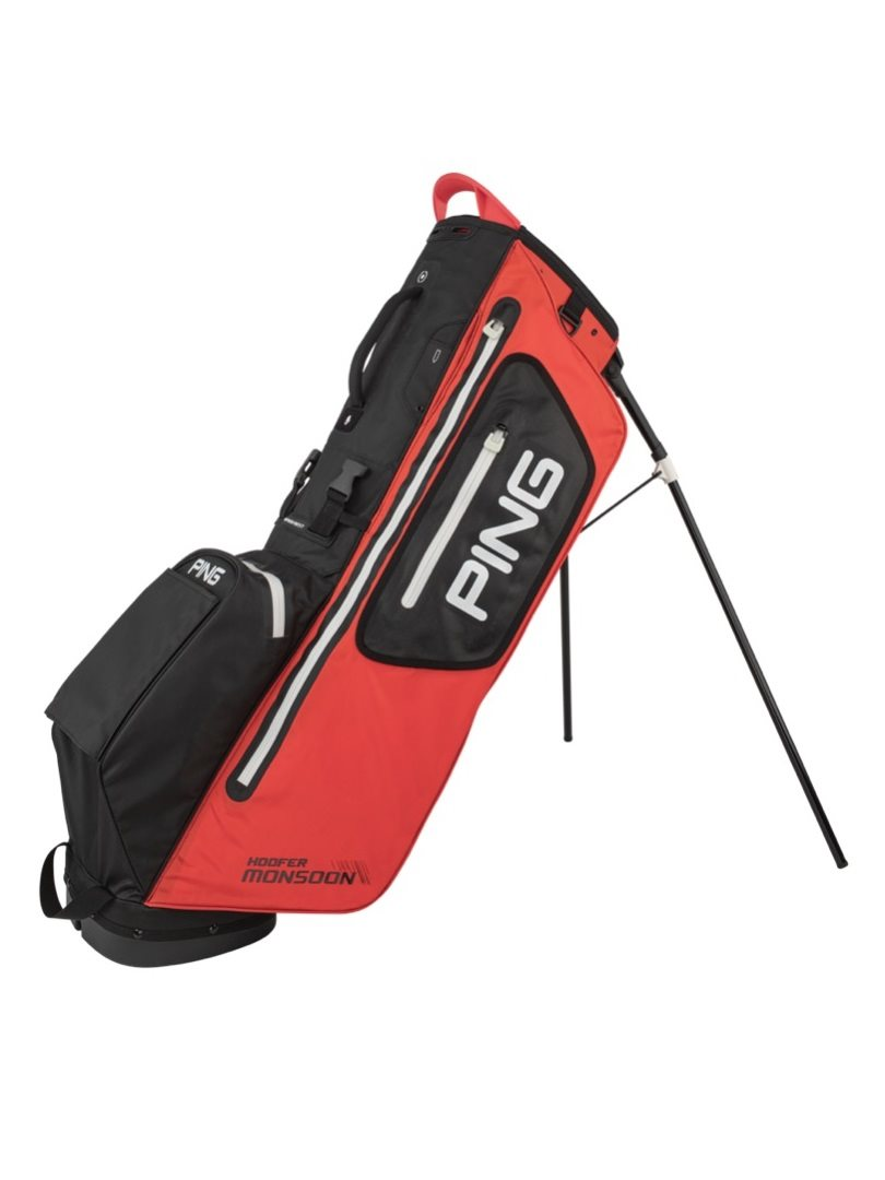 Ping golftas Hoofer Monsoon Stand Bag rood-zwart-wit