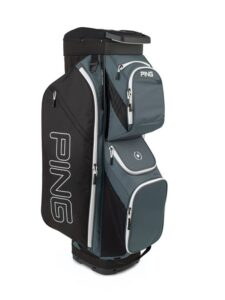 Ping golftas Traverse Cart Bag donkergrijs-zwart-wit
