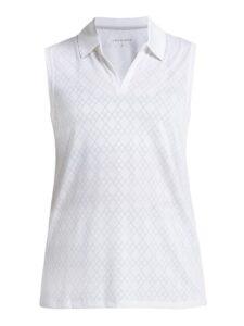 Röhnisch dames golfpolo Argyle zonder mouw wit