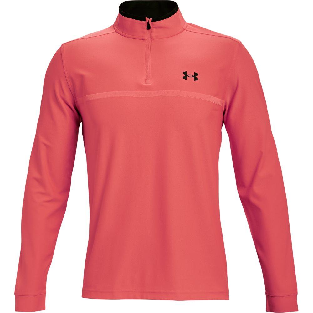 Under Armour heren golfsweater Playoff 2.0 korte rits rood/oranje