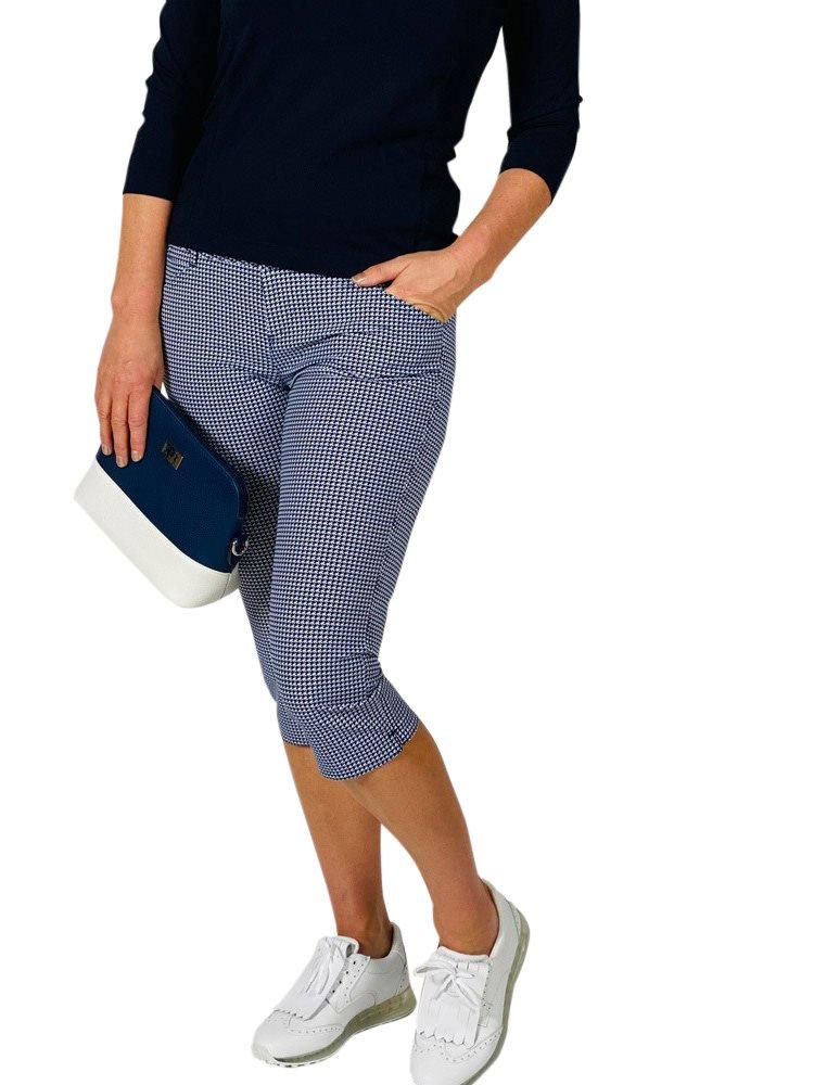 Alberto dames golfpantalon 7/8 Mona WR Print blauw-wit