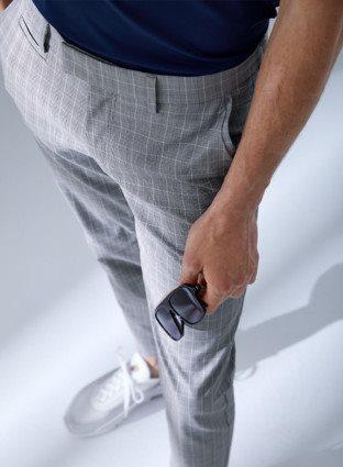 Brax heren golfpantalon Iron navy-ruitje