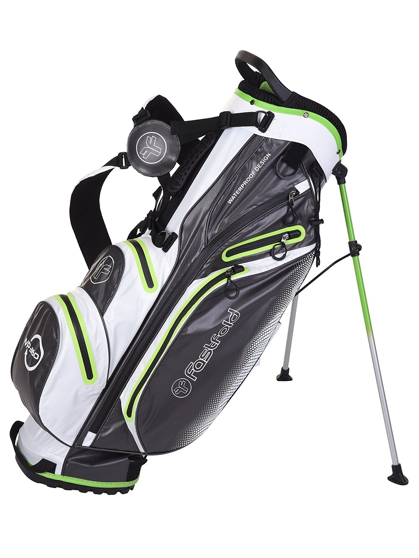 Fastfold golftas Waterproof Stand Bag grijs-wit-groen