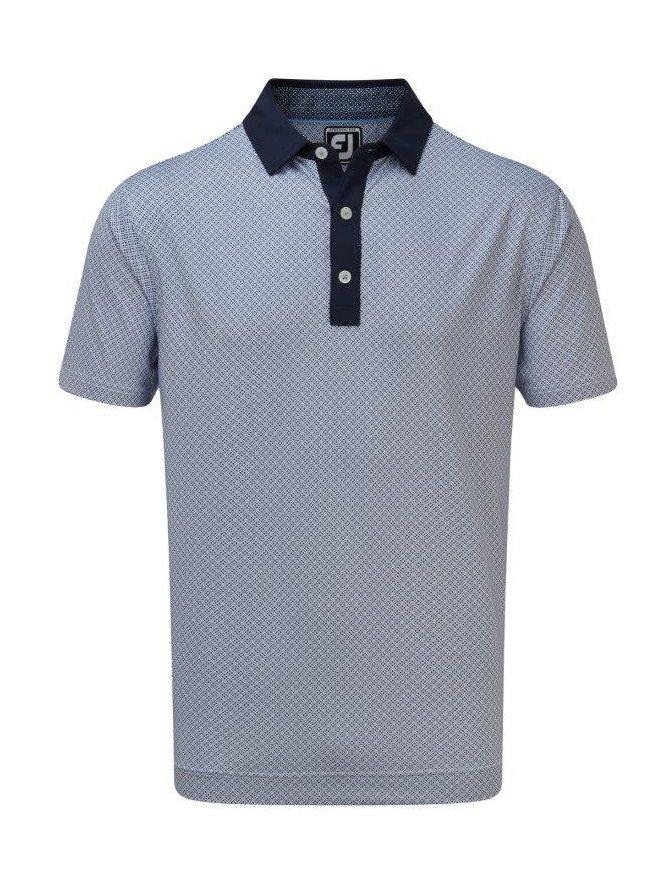 FootJoy heren golfpolo Lisle Foulard Print navy-wit