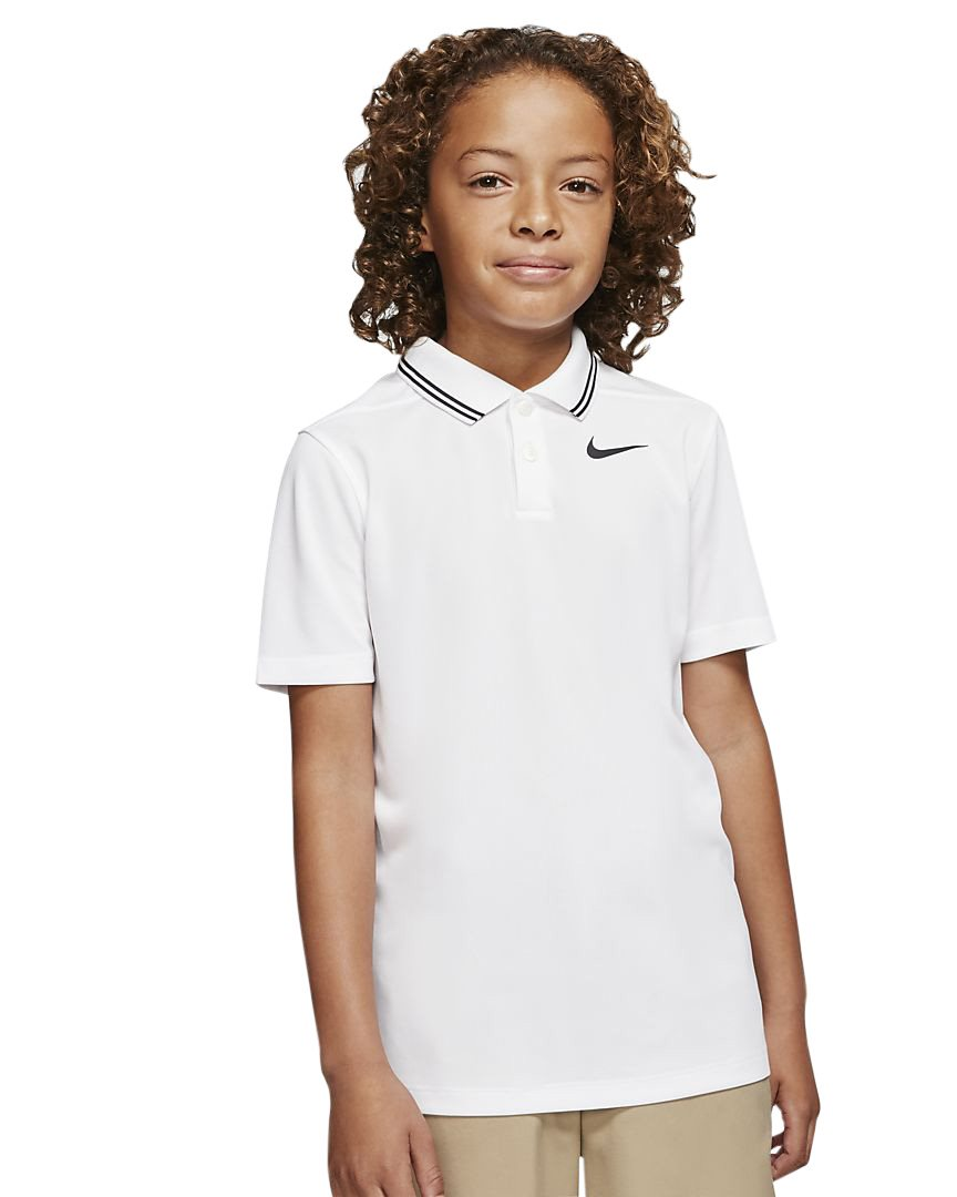 Nike junior golfpolo Dri-FIT Victory Solid wit