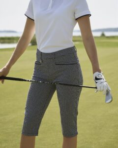 Röhnisch dames golfcapri Smooth Pirat navy-wit ruitje