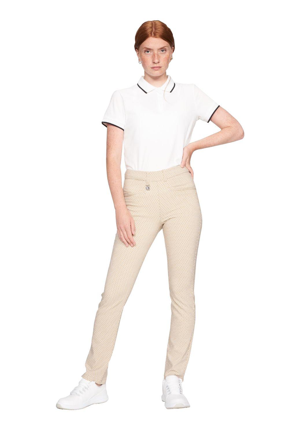 Röhnisch dames golfpantalon Smooth zand-wit ruitje