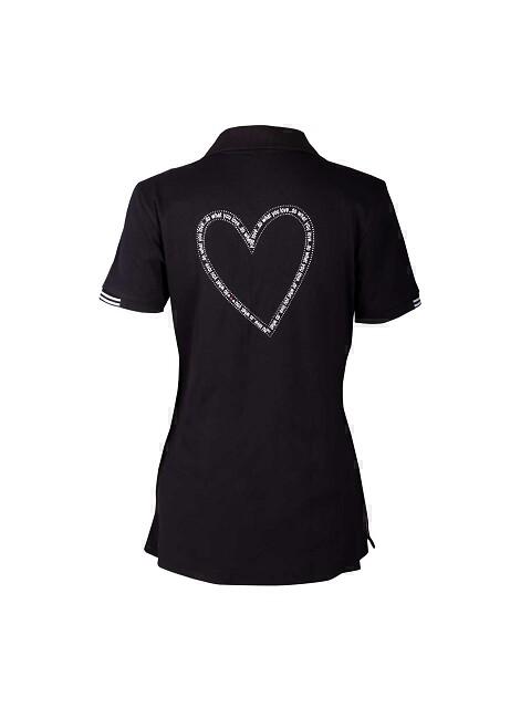Girls Golf dames golfpolo Heart Shape korte mouw zwart