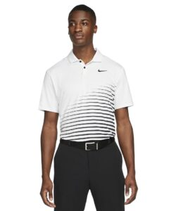 Nike heren golfpolo Dri-FIT Vapor Graphic wit-zwart