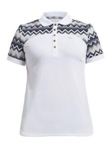 Röhnisch dames golfpolo Element Block korte mouw Zigzag wit-zand