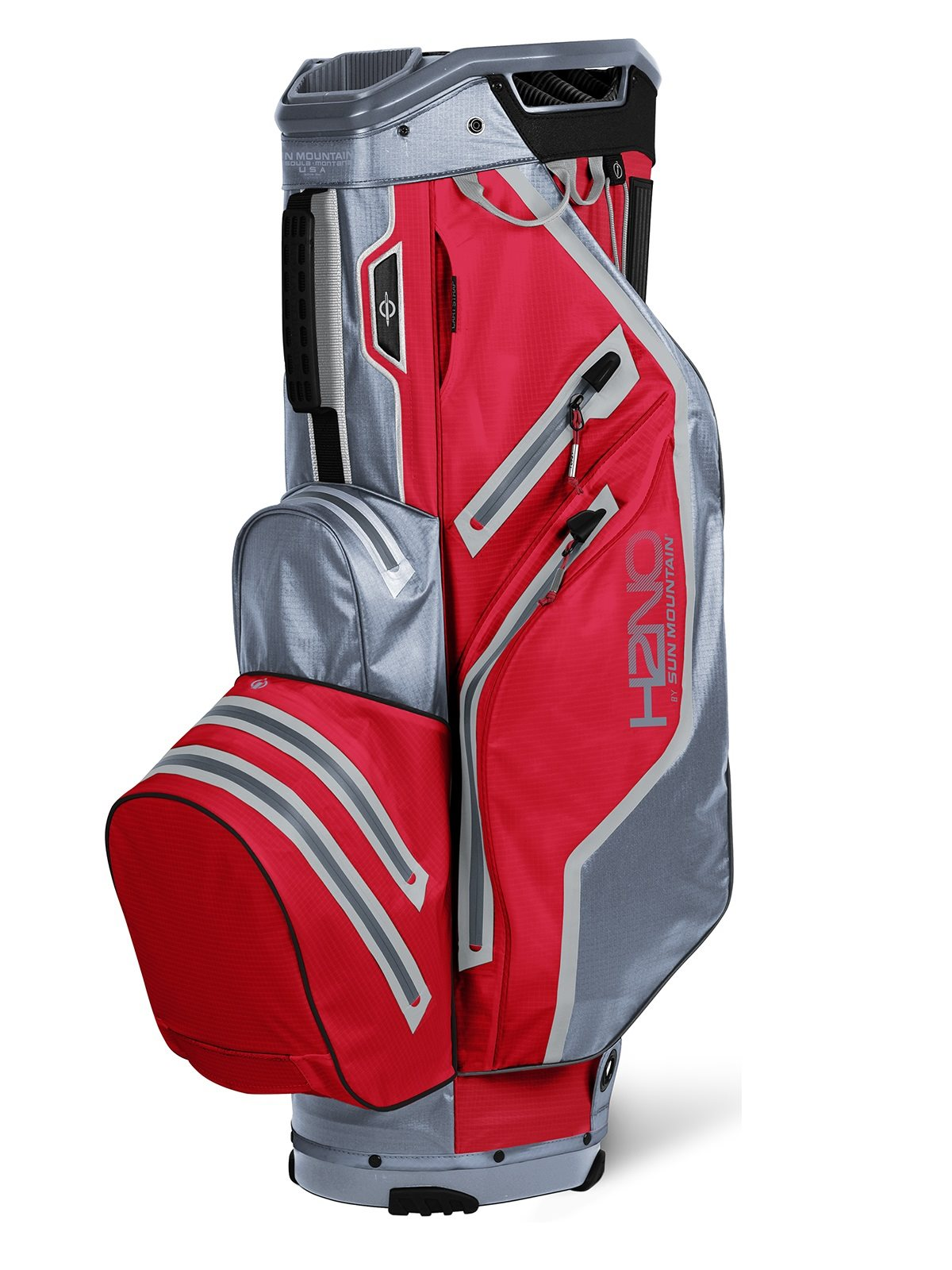 Sun Mountain golftas H2NO 14 Lite Cart Bag rood-grijs