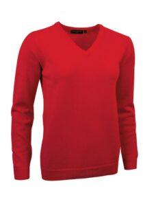 Glenmuir dames lamswollen pullover V-neck rood